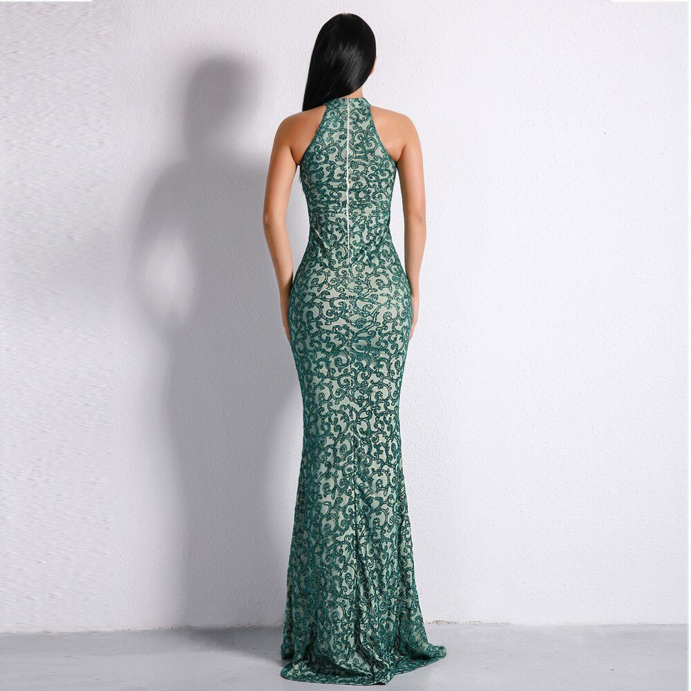 IFox 2020 Charming Halter Neck Sleeveless Women Dress Fashion Green Color Appliques Zipper Back Dress with Train