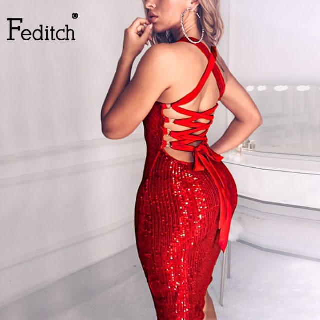 Feditch 2020 Sequin Glitter Bandage Sexy Dress Backless Hollow Out Sleeveless Bodycon Dress Sparkle Party Club Vestidos Clothes