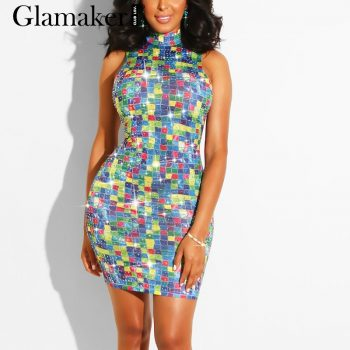 Glamaker Rhinestones sequin bodycon club dress Women blue party sexy short dress Summer female elegant fashion night mini dress