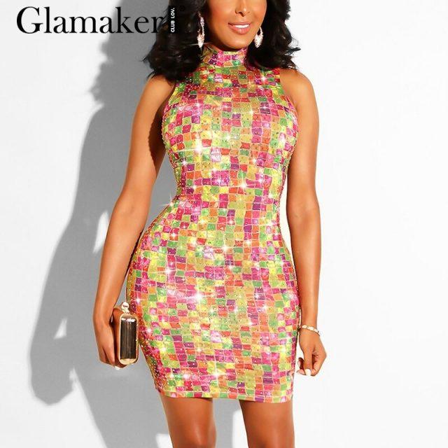 Glamaker Rhinestones sequin bodycon club dress Women blue party sexy short dress Summer female elegant fashion night mini dress