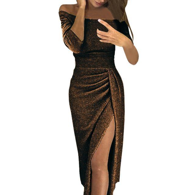 Dress Women Fashion Sparkling Cold Shoulder High Slit Slim Dress Long Party Dress 2020 Spring New Dress