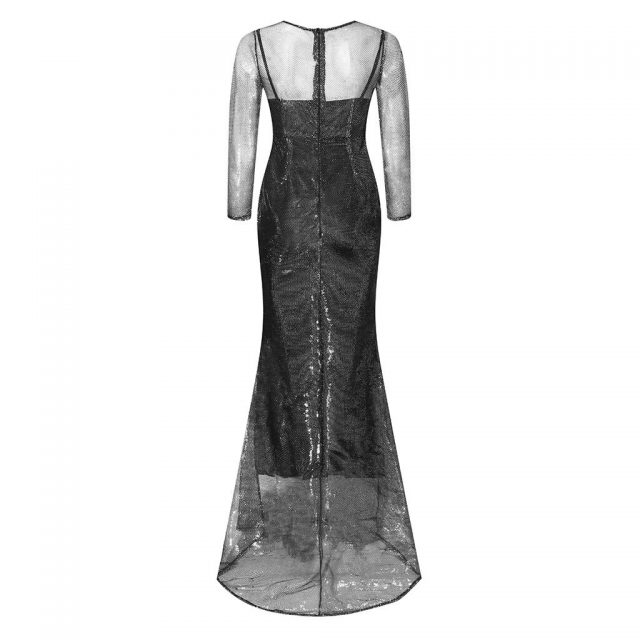 Dress Women 2019 Party Dresses vestidos sukienki Women Solid Sparkling Perspective Mesh Dress Long Sleeve Fishtail Party Dress