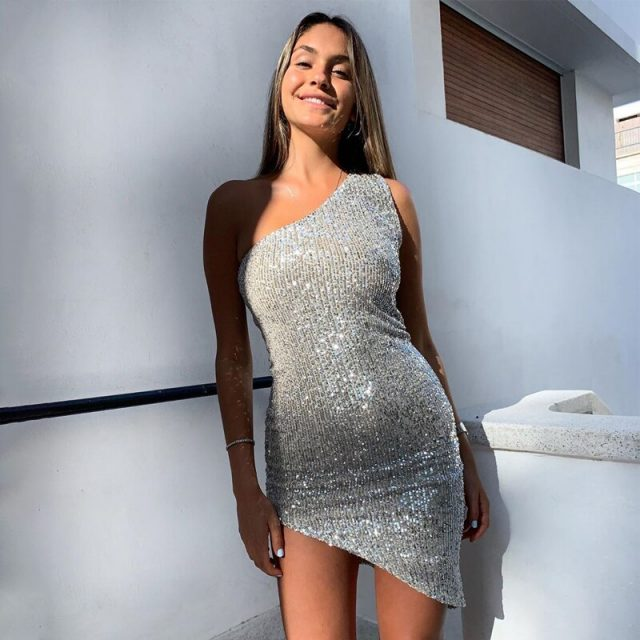 sequin sexy dress one shoulder women mini bodycon black silver party club night glitter ladies tight short dresses sparkle 2020
