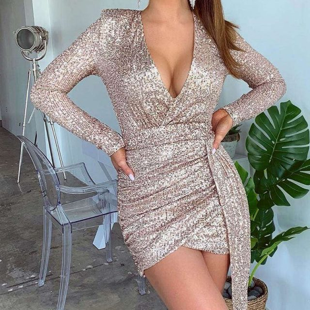 Glitter V Neck Long Sleeve Ruched Sequins Dress Women Night Party Mini Dress Sexy Sparkling Bodycon Club Dresses