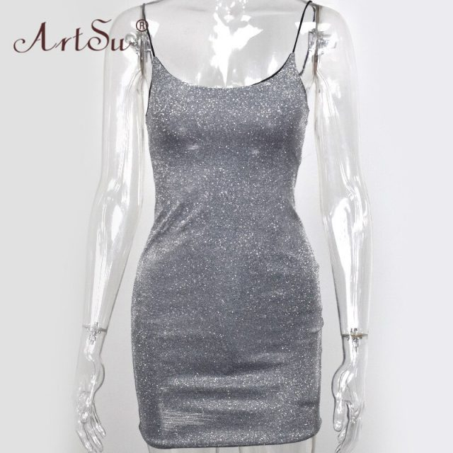 ArtSu Sparkle Dresses Woman Straps Party Night Club Vestidos Sexy Stretch U Neck Bodcon Mini Dress Black Silver Sequin Dress