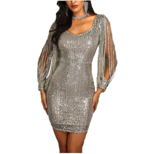 Women's fashion Sparkle Glitzy Glam square collar Sequin Tassel Long Sleeve Flapper Party Club Dress ladies mini dress black