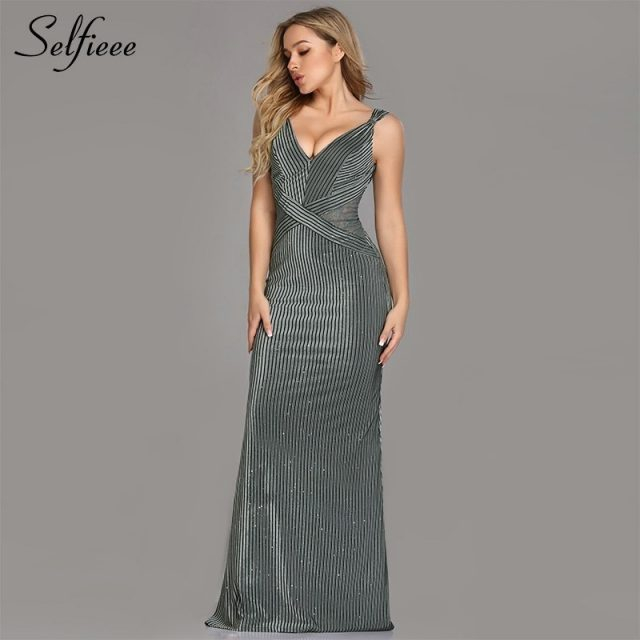 Fashion Dresses Long Ever Pretty V-Neck Spaghetti Strap Mermaid Sleeveless Floor-Length 2019 Sexy Sparkle Evening Party Gowns