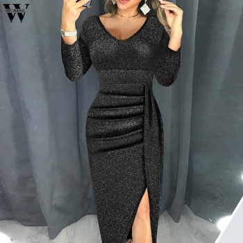 Womail Sheath Elegant Party Dresses Women High Slit Bodycon Dress Long Sleeve Mid-Calf V-Neck Party Dresses Sparkling vestido ST