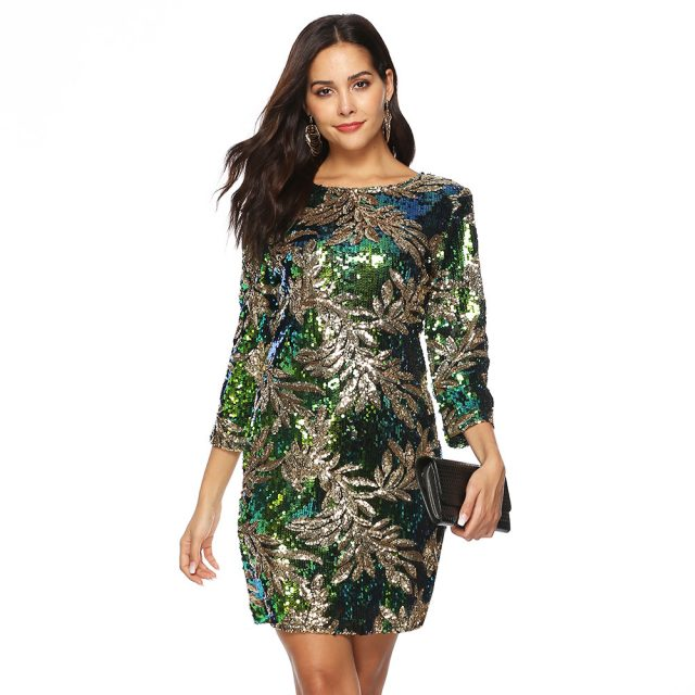 Women Winter Christmas Green Sequin Dress Plus Size XXL Sexy Elegant Party Night Dress Big Size Long Sleeve Back Metal Zipper