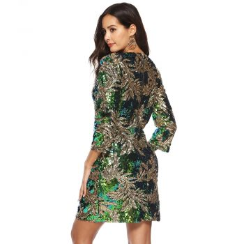 Women Winter Christmas Green Sequin Dress Plus Size XXL Sexy Elegant Party Night Dress Big Size Long Sleeve Back Metal Zipper