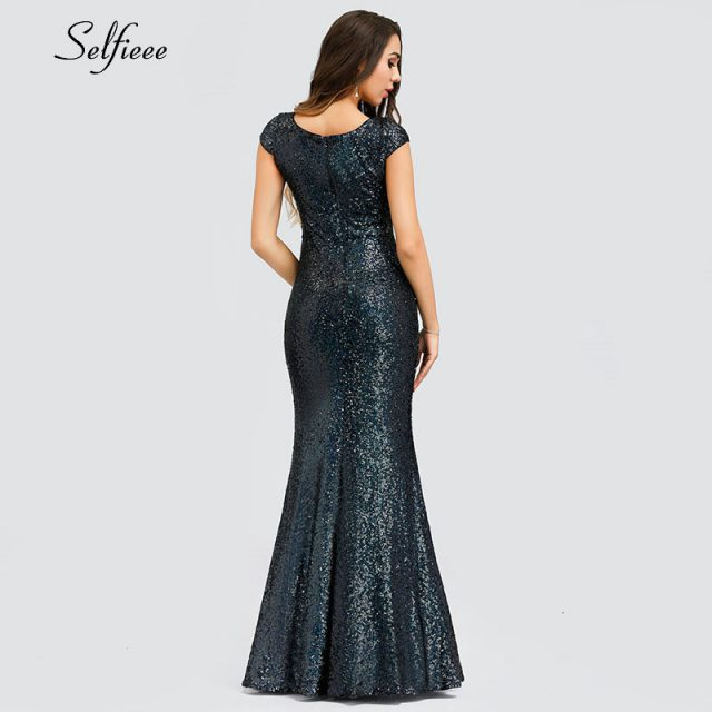 Elegant Sequined Mermaid Party Dress V-neck Cap Sleeve Bodycon Women Dress Ladies Sexy Sparkle Maxi Summer Dress Robe Femme 2019
