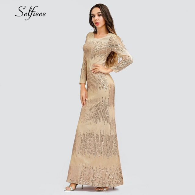 Sexy Rose Gold Women Dress Seuqined Full Sleeve O-Neck Bodycon Ladeis Luxury Sparkle Maxi Dress For Party Vestidos De Festa 2019