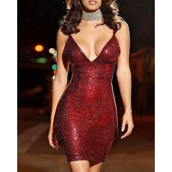Sexy Womens Bandage Bodycon Deep V neck Sparkle Sequined Sleeveless Strappy Evening Party Club Short Mini Pencil Dress