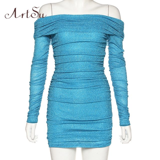 ArtSu Sexy Slash Neck Sparkle Blue Black Party Dresses Clubwear Glitter Long Sleeve Ruched Bodycon Bandage Mini Dress ASDR60646