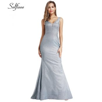 Sexy Bodycon Maxi Dress Double V-Neck Mermaid Sleeveless Sweep Train Sparkle Blue Women Dress For Party Robe Longue Femme 2019