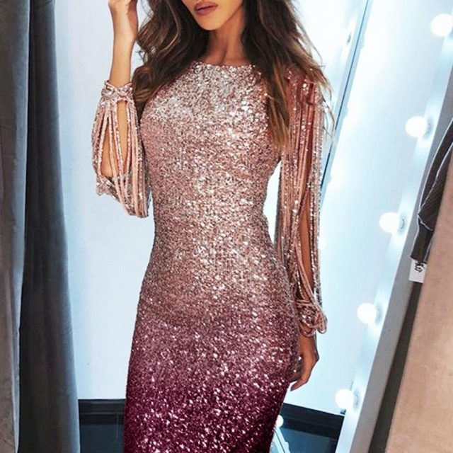 Women Sparkling Ombre Sequined Tassel Sleeve Bodycon Party Dress Sexy Hollow Out Gradient Color Sheath Elegant Ladies Outwears