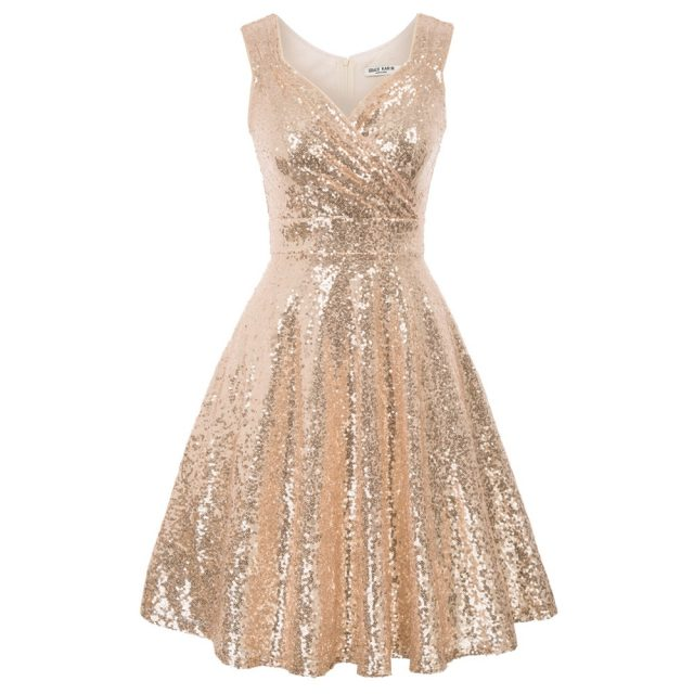 Rose Gold sexy dress Women Sparkling Sequins Sequined Dress Sleeveless V-Neck Flared A-Line luxury dinner evening party dresses