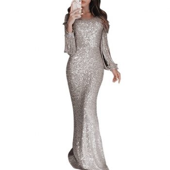 2020 New Sexy O Neck Long Sleeve Sparkle Sequin Maxi Dress Floor Length Stretchy Bodycon Party Dress Gold Emerald Vestidos#J30