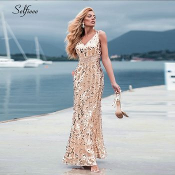 Sparkle women dresses Long Mermaid Sequined Tank V-Neck Sleeveless Sexy Maxi Summer Dresses 2019 Cheap Elegant Party Dresses