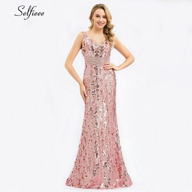 Sparkle women dresses Long Mermaid Sequined Tank V-Neck Sleeveless Sexy Maxi Summer Dresses 2019 Cheap Elegant Party Dresses