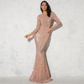2019 Elegant O Neck Long Sleeve Sparkle Sequin Maxi Dress Floor Length Stretchy Bodycon Party Dress Gold Emerald Burgundy Black