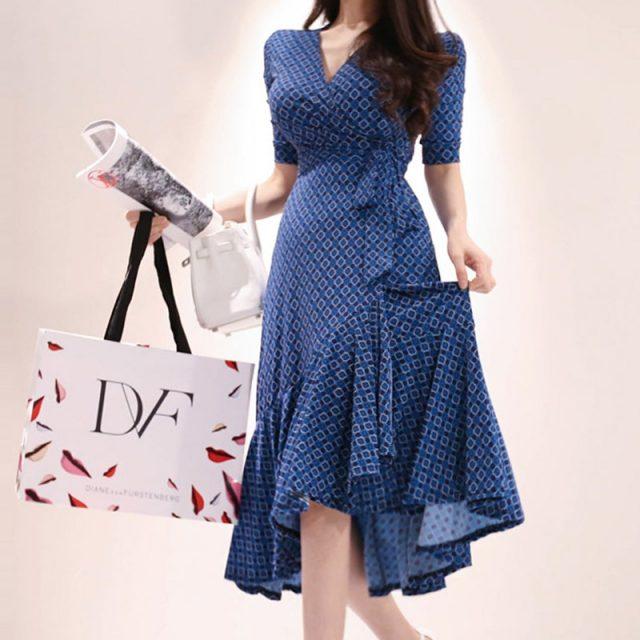 CINESSD Maxi Dress for Women Summer Blue Drape V neck robe vestidos cotton Sexy female irregular Long loose A-line Party Dresses