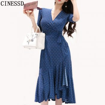CINESSD Maxi Dress for Women Summer Blue Drape V neck robe vestidos cotton Sexy female irregular Long loose A-line Party Dresses