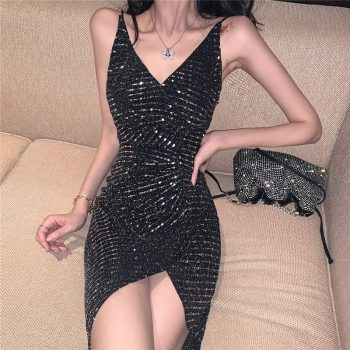 Women's Sling Party Dress 2019 New Fashion Sexy Sparkling Back Nightclub Dress