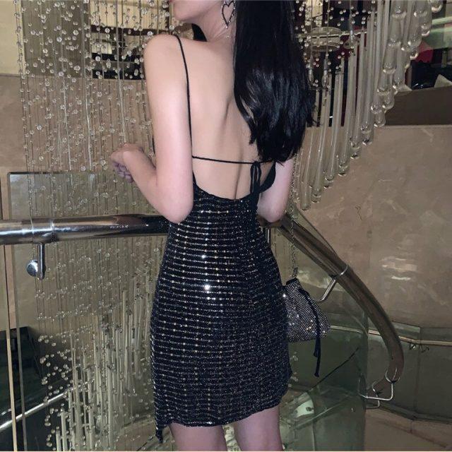 Women's Sling Party Dress 2019 New Fashion Sexy Sparkling Back Nightclub Dress