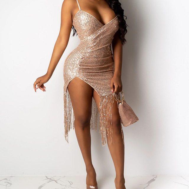 Female Deep V Neck Asymmetric Sequins Party Dress Women Sparkling Spaghetti Strap Tassel Design Backless Split Dress