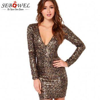 SEBOWEL Sexy Gold Sequin Club Dress Women Long Sleeve Glitter Bodycon Mini Party Dress Sparkle Female Shine Slim Pencil Dresses