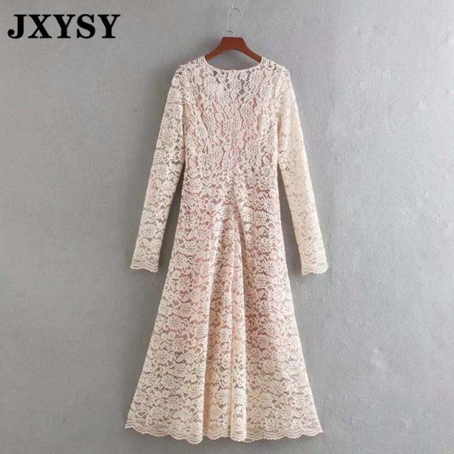 JXYSY dress women 2020 england elegant mesh translucent sexy dress long sleeve lace female evening party dress A line vestidos