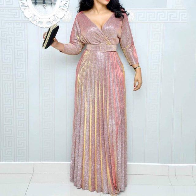 2019 Reflective Long Dress Women Pleated Sexy Deep V Neck Elegant Autumn High Waist Belt Glitter Evening Party Pink Maxi Dresses