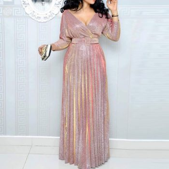 2019 Reflective Long Dress Women Pleated Sexy Deep V Neck Elegant Autumn High Waist Belt Glitter Evening Party Pink Maxi Dresses
