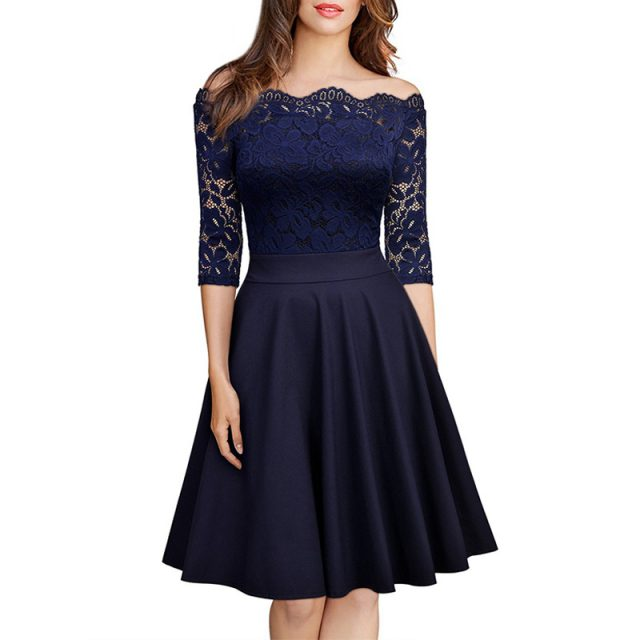 Elegant Sexy Dress for Women Vintage Lace Long Sleeve Wine red Black Blue Robe Femme Casual Dresses Woman Party Night 2019