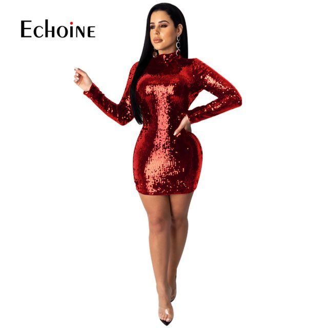 Sparkly Sequin Sexy Backless Bodycon Mini Dress Women Long Sleeve Tight Fitted Black Red Dresses Woman Party Night Club Outfits