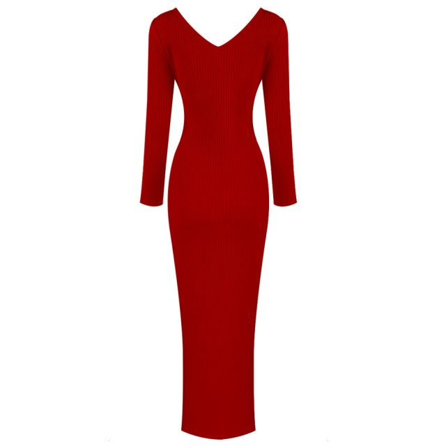 Sexy V Neck Full Sleeve Maxi Bandage Dress Women Elegant Sheath Robe Femme Summer Dress Solid Skinny Red Yellow Party Dress