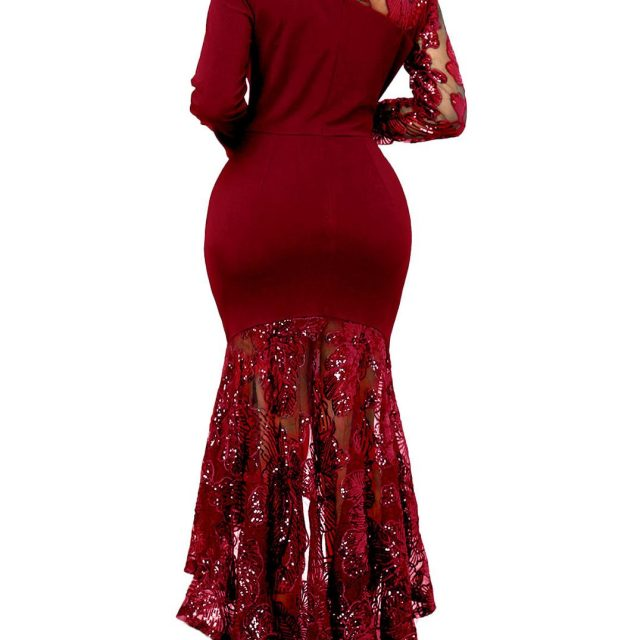 VAZN KM8059 New High-end Customization Flaring Sequined Mature Sexy Party Untidy Full Sleeve High Waist Mermaid Women Maxi Dress