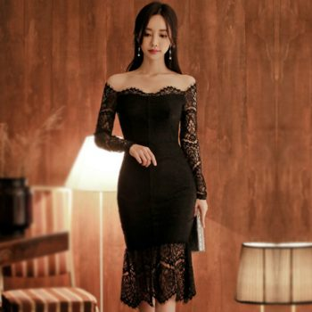 2020 Spring Korea OL Black Slim Party Dress Women's Sexy Slash Neck Bodycon Fishtail Full Lace Vestidos