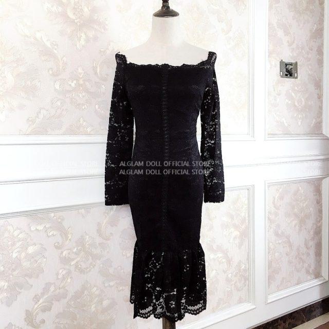 2020 Spring Korea OL Black Slim Party Dress Women's Sexy Slash Neck Bodycon Fishtail Full Lace Vestidos