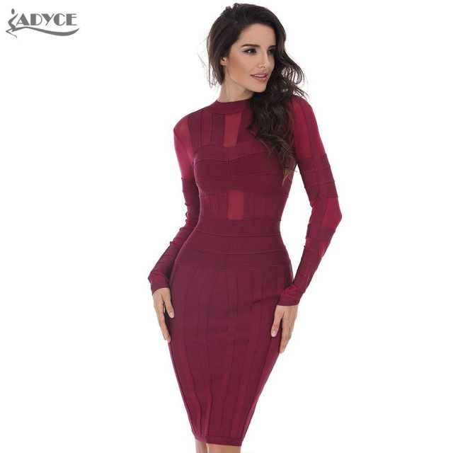 Adyce 2019 New Winter Bandage Dress Women Sexy Bodycon Wine Red Long Sleeve Mesh Club Dress Midi Evening Party Dress Wholesale