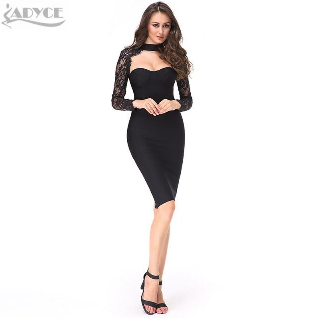 ADYCE 2019 New Summer Women Celebrity Party Dress Long Sleeve Hollow Out Hot Bodycon Dress Black Lace Midi Bandage Dress Vestido
