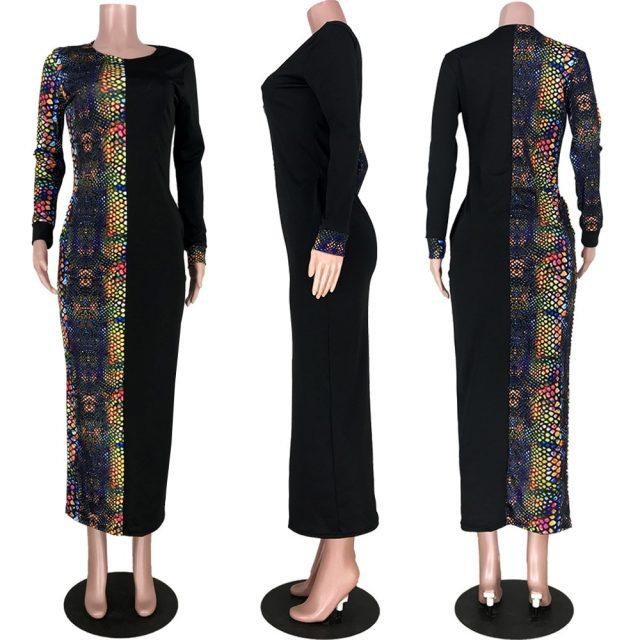 Women Winter Long Dress Full Sleeve Snakeskin Print Dress Pockets O-Neck Sexy Night Club Party Bandage Maxi Dresses Bodycon 6217