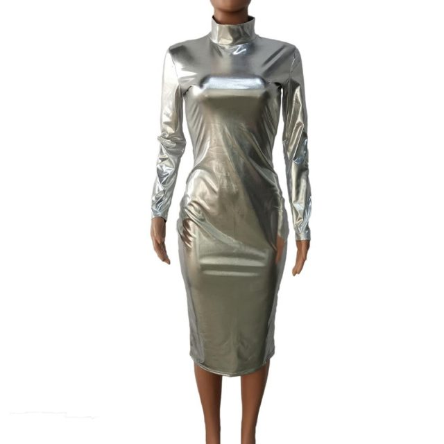 Ladies sexy full sleeve bodycon dress club party new fashion silver / golden color bright pu leather sexy midi dress