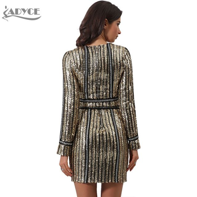 ADYCE 2019 Winter Luxury Sequined Celebrity Evening Runway Party Dress Gold O-Neck Long Sleeve Striped Women Bodycon Club Dress