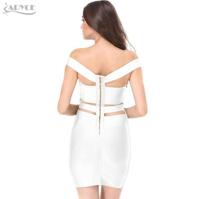 Adyce 2019 New Women Summer Bandage Dress Patchwork Spaghetti Strap Mini Vestidos Strapless Sleeveless Celebrity Party Dresses