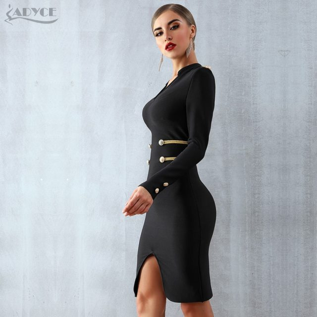 Adyce 2019 New Winter Black Elegant Celebrity Evening Party Bandage Dress Women Vestido Sexy Long Sleeve Midi Club Bodycon Dress