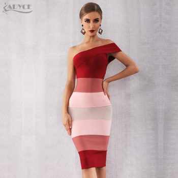 Adyce 2019 New Summer Women Bandage Dress Vestidos Sexy One Shoulder Sleeveless Midi Club Dress Celebrity Evening Party Dresses