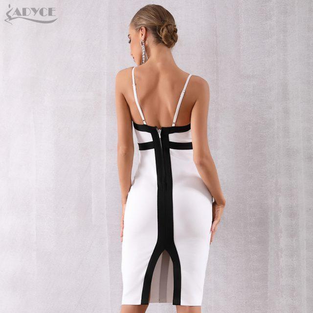 Adyce 2019 New Summer Women Bodycon Bandage Dress Vestido Elegant White Spaghetti Strap Striped Club Dress Celebrity Party Dress