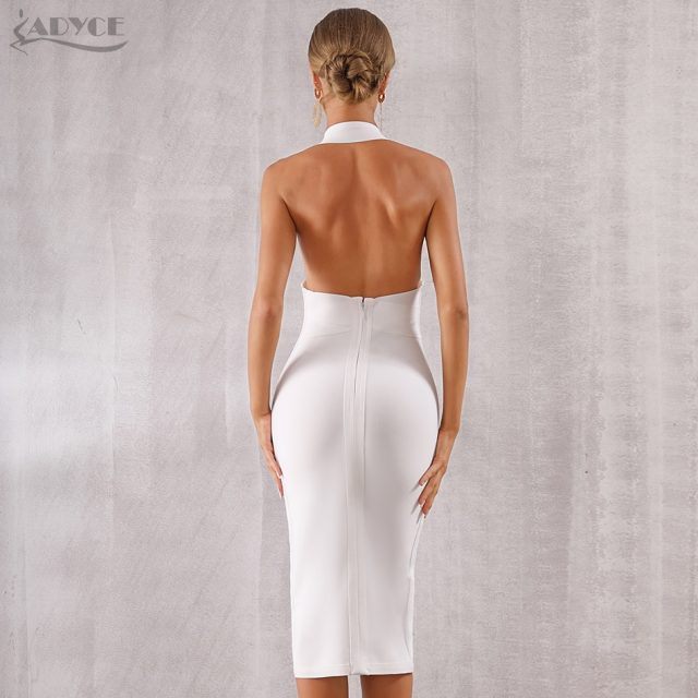 ADYCE 2019 New Summer Women Bodycon Bandage Dress Sexy Halter Deep V Backless Club Dress Vestidos Celebrity Evening Party Dress
